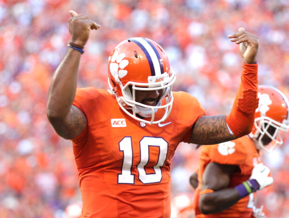 CLEMSON, SC - OCTOBER 12: Tajh Boyd #10 of the Clemson Tigers celebrates after scoring a touchdown against the Boston College Eagles at Memorial Stadium on October 12, 2013 in Clemson, South Carolina. (Photo by Tyler Smith/Getty Images)