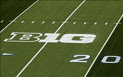 Oct 12, 2013; University Park, PA, USA; A general view of the Big Ten logo prior to the game between the Penn State Nittany Lions and the Michigan Wolverines at Beaver Stadium. Mandatory Credit: Matthew O'Haren-USA TODAY Sports