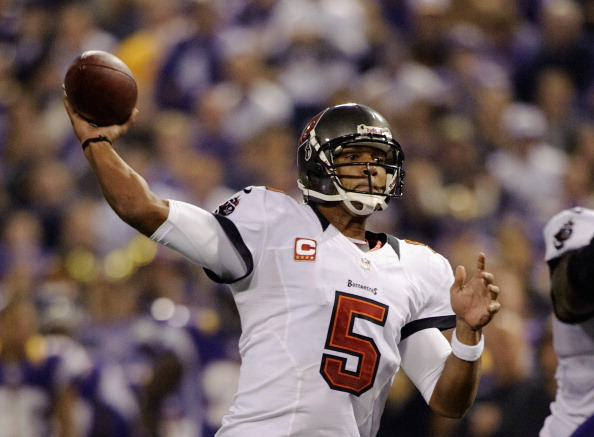 MINNEAPOLIS, MN - OCTOBER 25: Josh Freeman #5 of the Tampa Bay Buccaneers passes the ball during the game against the Minnesota Vikings on October 25, 2012 at Mall of America Field at the Hubert H. Humphrey Metrodome in Minneapolis, Minnesota. (Photo by Hannah Foslien/Getty Images)