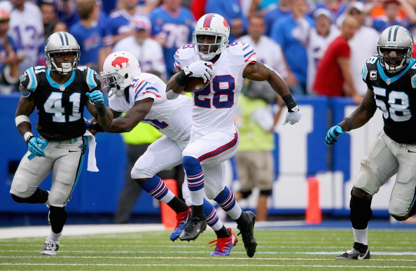 ORCHARD PARK, NY - SEPTEMBER 15:  C.J. Spiller #28 of the Buffalo Bills runs for 46 yards against  the Carolina Panthers at Ralph Wilson Stadium on September 15, 2013 in Orchard Park, New York.  (Photo by Rick Stewart/Getty Images)