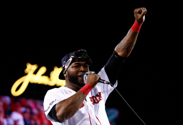 BOSTON, MA - OCTOBER 19:  David Ortiz #34 of the Boston Red Sox celebrates after defeating the Detroit Tigers in Game Six of the American League Championship Series at Fenway Park on October 19, 2013 in Boston, Massachusetts. The Red Sox defeated the Tigers 5-2 to clinch the ALCS in six games.  (Photo by Jared Wickerham/Getty Images)