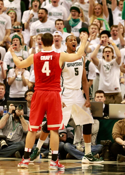 EAST LANSING, MI - JANUARY 19:  Adreian Payne #5 of the Michigan State Spartans reacts afar making a second-half basket against the Ohio State Buckeyes at the Breslin Center on January 19, 2013 in East Lansing, Michigan. Michigan State won the game 59-56. (Photo by Gregory Shamus/Getty Images)