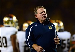 Sep 7, 2013; Ann Arbor, MI, USA; Notre Dame Fighting Irish head coach Brian Kelly on the sidelines during the fourth quarter against the Michigan Wolverines at Michigan Stadium. Mandatory Credit: Andrew Weber-USA TODAY Sports