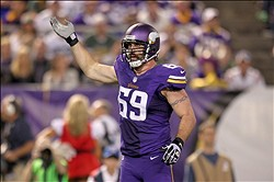 Oct 27, 2013; Minneapolis, MN, USA; Minnesota Vikings defensive end Jared Allen (69) prior to a play during the third quarter against the Green Bay Packers at Mall of America Field at H.H.H. Metrodome. The Packers defeated the Vikings 44-31. Mandatory Credit: Brace Hemmelgarn-USA TODAY Sports