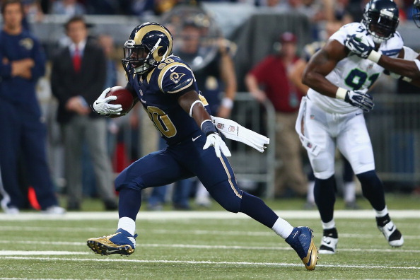 ST LOUIS, MO - OCTOBER 28: Zac Stacy #30 of the St Louis Rams runs with the ball against the Seattle Seahawks during an NFL game at Edward Jones Dome on October 28, 2013 in St Louis, Missouri.  (Photo by Andy Lyons/Getty Images)