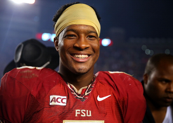 TALLAHASSEE, FL - NOVEMBER 02:  Jameis Winston #5 of the Florida State Seminoles looks on during a game against the Miami Hurricanes at Doak Campbell Stadium on November 2, 2013 in Tallahassee, Florida.  (Photo by Mike Ehrmann/Getty Images)