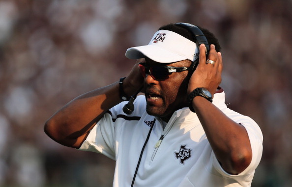 COLLEGE STATION, TX - SEPTEMBER 14:  Head Coach Kevin Sumlin of the Texas A&M Aggies reacts to a play in the fourth quarter during the game against the Alabama Crimson Tide at Kyle Field on September 14, 2013 in College Station, Texas.  (Photo by Scott Halleran/Getty Images)