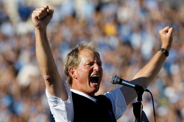 PASADENA, CA - OCTOBER 18:  Head coach Rick Neuheisel of the UCLA Bruins celebrates following their victory over the Stanford Cardinal on October 18, 2008 at the Rose Bowl in Pasadena, California.  UCLA won 23-20.  (Photo by Harry How/Getty Images)