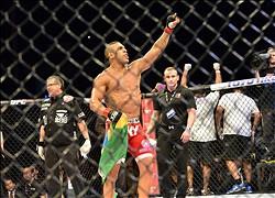 May 18, 2013; Jaragua do Sul, BRAZIL; Vitor Belfort (red shorts) celebrates after defeating  Luke Rockhold (not pictured) during UFC on FX 8 at ARena Jaragua. Mandatory Credit: Jason da Silva-USA TODAY Sports