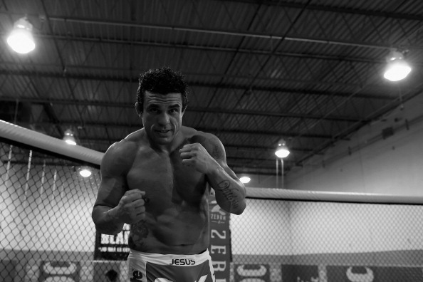 DELRAY BEACH, FL - SEPTEMBER 17:  (EDITORS NOTE: Image has been converted to black and white.) Vitor Belfort conducts a workout at the Jaco Hybrid Training Center on September 17, 2012 in Delray Beach, Florida. Belfort will fight Jon Jones on September 22, 2012 at UFC 152 in Toronto, Canada.  (Photo by Chris Trotman/Getty Images)