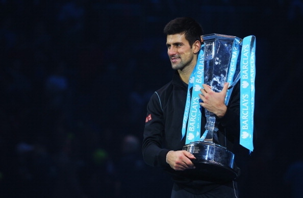 LONDON, ENGLAND - NOVEMBER 11:  Novak Djokovic of Serbia holds the trophy after his men's singles final match against Rafael Nadal of Spain during day eight of the Barclays ATP World Tour Finals at O2 Arena on November 11, 2013 in London, England.  (Photo by Julian Finney/Getty Images)