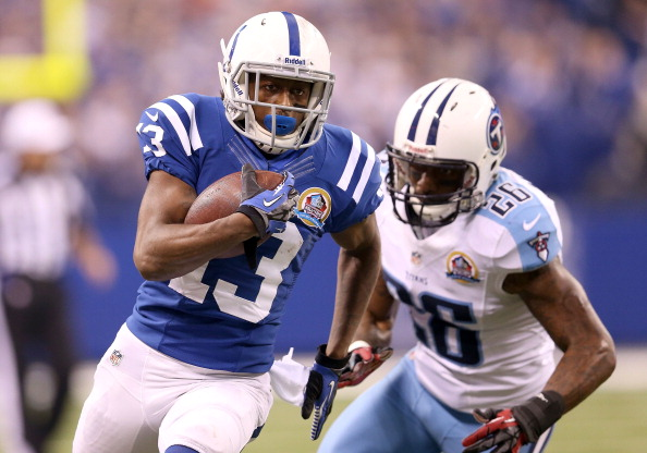 INDIANAPOLIS, IN - DECEMBER 09: T.Y. Hilton #13 of the Indianapolis Colts runs with the ball during the NFL game against the Tennessee Titans at Lucas Oil Stadium on December 9, 2012 in Indianapolis, Indiana.  (Photo by Andy Lyons/Getty Images)