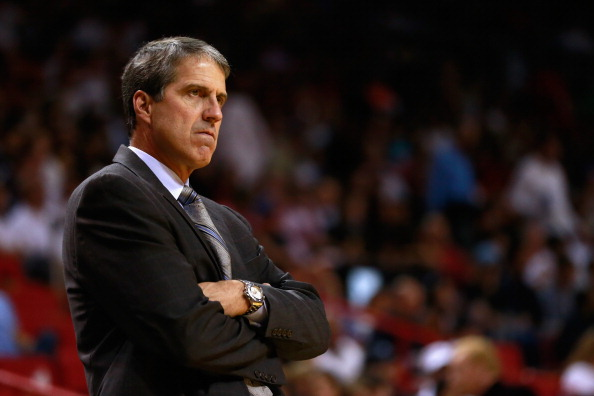 MIAMI, FL - NOVEMBER 03:  Randy Wittman of the Washington Wizards coaches from the sideline against the Miami Heat at American Airlines Arena on November 3, 2013 in Miami, Florida. NOTE TO USER: User expressly acknowledges and agrees that, by downloading and or using this photograph, User is consenting to the terms and conditions of the Getty Images License Agreement.  (Photo by Chris Trotman/Getty Images)