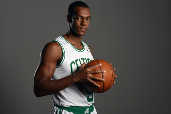 WALTHAM, MA - SEPTEMBER 30: Rajon Rondo #9 of the Boston Celtics poses for a picture during media day at the Boston Sports Club in Waltham, Massachusetts on September 30, 2013. NOTE TO USER: User expressly acknowledges and agrees that, by downloading and or using this photograph, User is consenting to the terms and conditions of the Getty Images License Agreement. Mandatory Copyright Notice: Copyright 2013 NBAE  (Photo by Brian Babineau/NBAE via Getty Images)