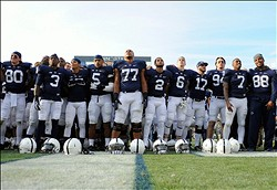 Nov 16, 2013; University Park, PA, USA; Penn State Nittany Lions players sing the schools alma mater following the game against the Purdue Boilermakers at Beaver Stadium.  Penn State defeated Purdue  45-21.  Mandatory Credit: Rich Barnes-USA TODAY Sports