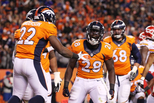 DENVER, CO - NOVEMBER 17:  Montee Ball #28 of the Denver Broncos celebrates scoring a second quarter touchdown with C.J. Anderson and Orlando Franklin #74 against the Kansas City Chiefs at Sports Authority Field at Mile High on November 17, 2013 in Denver, Colorado.  (Photo by Doug Pensinger/Getty Images)