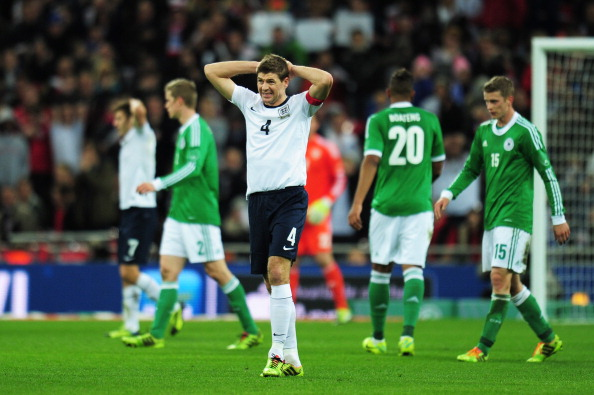 LONDON, ENGLAND - NOVEMBER 19:  Steven Gerrard of England reacts during the international friendly match between England and Germany at Wembley Stadium on November 19, 2013 in London, England.  (Photo by Shaun Botterill/Getty Images)