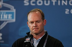 Feb 21, 2013; Indianapolis, IN, USA; Miami Dolphins general manager Jeff Ireland speaks at a press conference during the 2013 NFL Combine at Lucas Oil Stadium.  Mandatory Credit: Brian Spurlock-USA TODAY Sports