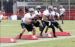 Jul 25, 2013; Tampa, FL, USA; Tampa Bay Buccaneers running back Peyton Hills (33), running back Mike James (25), fullback Erik Lorig (41) and running back Doug Martin (22) run through drills during training camp at One Buccaneer Place. Mandatory Credit: Kim Klement-USA TODAY Sports