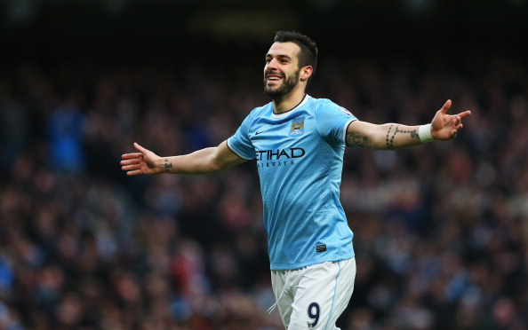 MANCHESTER, ENGLAND - NOVEMBER 24:  Alvaro Negredo of Manchester City celebrates his team's fifth goal during the Barclays Premier League match between Manchester City and Tottenham Hotspur at Etihad Stadium on November 24, 2013 in Manchester, England.  (Photo by Alex Livesey/Getty Images)