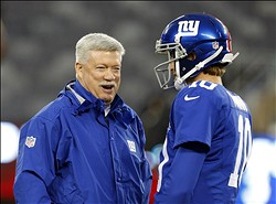 Dec 9, 2012; East Rutherford, NJ, USA;  New York Giants offensive coordinator Kevin Gilbride and quarterback Eli Manning (10) prior to the game against the New Orleans Saints at MetLife Stadium. Mandatory Credit: Jim O'Connor-USA TODAY Sports