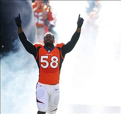 Oct 27, 2013; Denver, CO, USA; Denver Broncos linebacker Von Miller (58) before the game against the Washington Redskins at Sports Authority Field at Mile High. Mandatory Credit: Chris Humphreys-USA TODAY Sports