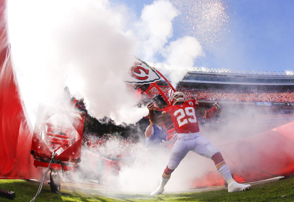 KANSAS CITY, MO - OCTOBER 13: Eric Berry #29 of the Kansas City Chiefs heads through the tunnel during player introductions before game against the Oakland Raiders October 13, 2013 at Arrowhead Stadium in Kansas City, Missouri. (Photo by Kyle Rivas/Getty Images)