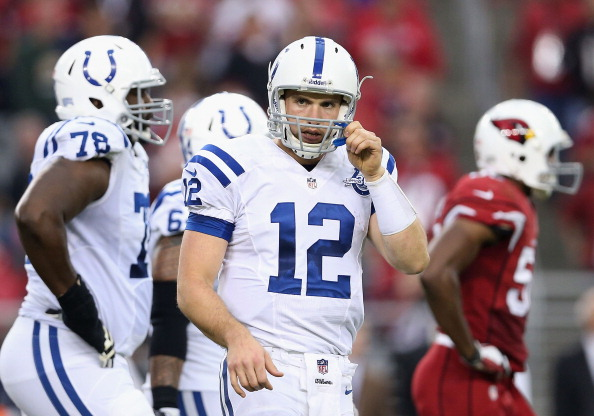 GLENDALE, AZ - NOVEMBER 24:  Quarterback Andrew Luck #12 of the Indianapolis Colts during the NFL game against the Arizona Cardinals at the University of Phoenix Stadium on November 24, 2013 in Glendale, Arizona. The Cardinals defeated the Colts 40-11.  (Photo by Christian Petersen/Getty Images)