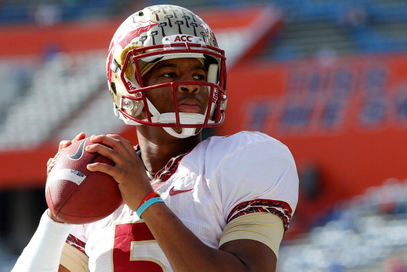 GAINESVILLE, FL - NOVEMBER 30:  Jameis Winston #5 of the Florida State Seminoles warms up before the game against the Florida Gators on November 30, 2013 in Gainesville, Florida.  (Photo by Sam Greenwood/Getty Images)
