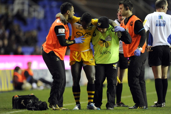 READING, ENGLAND - NOVEMBER 30: Christian Wade of London Wasps leaves the pitch after a suspected injury to his ankle during the Aviva Premiership Rugby match between London Irish and London Wasps at the Madejski Stadium on November 30, 2013 in Reading, England. (Photo by Rob Munro/Getty Images)