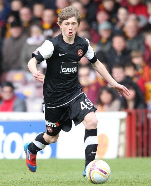 MOTHERWELL, SCOTLAND - MAY 13:  Ryan Gauld of Dundee United in action during the Scottish Premier League match between Motherwell FC and Dundee United FC held at Fir Park on May 13, 2012 in Motherwell, Scotland. (Photo by Ian MacNicol/EuroFootball/Getty Images)
