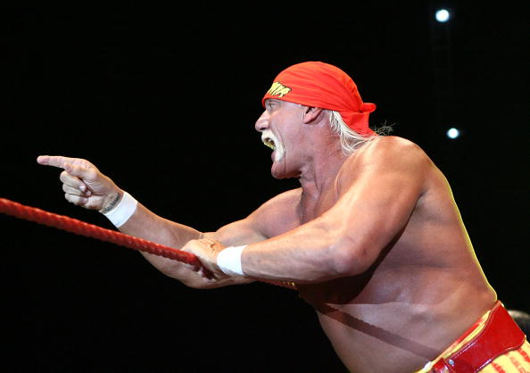 PERTH, AUSTRALIA - NOVEMBER 24:  Hulk Hogan gestures to the audience during his Hulkamania Tour at the Burswood Dome on November 24, 2009 in Perth, Australia.  (Photo by Paul Kane/Getty Images)