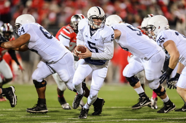 COLUMBUS, OH - OCTOBER 26:  Quarterback Tyler Ferguson #5 of the Penn State Nittany Lions looks to hand off against the Ohio State Buckeyes at Ohio Stadium on October 26, 2013 in Columbus, Ohio.  (Photo by Jamie Sabau/Getty Images)