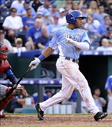 July 8, 2012; Kansas City, MO, USA; USA batter Jonathan Singleton hits  a single during the fifth inning of the 2012 All Star Futures Game at Kauffman Stadium.  Mandatory Credit: H. Darr Beiser-USA TODAY Sports via USA TODAY Sports