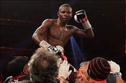 Apr 13, 2013; New York, NY, USA; Guillermo Rigondeaux celebrates his 12-round unanimous decision win over Nonito Donaire (not shown) at Radio City Music Hall. Mandatory Credit: Ed Mulholland-USA TODAY Sports