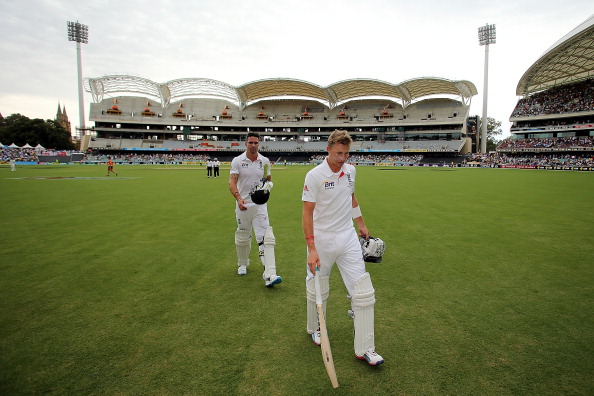 ADELAIDE, AUSTRALIA - DECEMBER 08:  Joe Root (R) and Kevin Pietersen of England leave the field at the lunch-break during day four of the Second Ashes Test Match between Australia and England at Adelaide Oval on December 8, 2013 in Adelaide, Australia.  (Photo by Morne de Klerk/Getty Images)