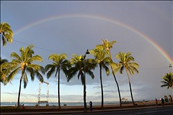 Aug 28 2013; Honolulu, HI, USA; General view of rainbow at Waikiki Beach before the NCAA football game between the Southern California Trojans and the Hawaii Rainbow Warriors. Mandatory Credit: Kirby Lee-USA TODAY Sports