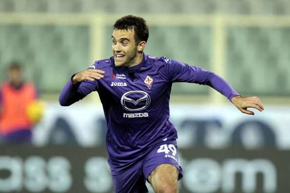 FLORENCE, ITALY - NOVEMBER 10: Giuseppe Rossi  of ACF Fiorentina celebrates after scoring a goal during the Serie A match between ACF Fiorentina and UC Sampdoria at Stadio Artemio Franchi on November 10, 2013 in Florence, Italy.  (Photo by Gabriele Maltinti/Getty Images)