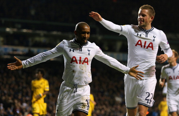 LONDON, ENGLAND - NOVEMBER 07:  Jermain Defoe of Spurs celebrates scoring their second goal from the penalty spot with Gylfi Sigurosson of Spurs during the UEFA Europa League Group K match between Tottenham Hotspur FC and FC Sheriff at White Hart Lane on November 7, 2013 in London, England.  (Photo by Ian Walton/Getty Images)