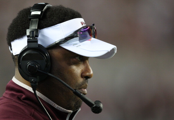 TUSCALOOSA, AL - NOVEMBER 10:  Head coach Kevin Sumlin of the Texas A&M Aggies watches the action on the field during the game against the Alabama Crimson Tide at Bryant-Denny Stadium on November 10, 2012 in Tuscaloosa, Alabama.  (Photo by Mike Zarrilli/Getty Images)