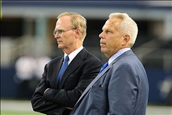 Sep 8, 2013; Arlington, TX, USA; New York Giants executive vice president Steve Tisch (right) and president John K. Mara prior to the game against the Dallas Cowboys at AT&T Stadium. Mandatory Credit: Matthew Emmons-USA TODAY Sports