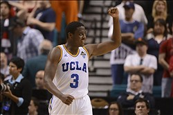 March 15, 2013; Las Vegas, NV, USA; UCLA Bruins guard Jordan Adams (3) celebrates after the game against the Arizona Wildcats in the semifinal round of the Pac 12 tournament at the MGM Grand Garden Arena. UCLA defeated Arizona 66-64. Mandatory Credit: Kyle Terada-USA TODAY Sports