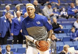 Dec 10, 2013; Lexington, KY, USA; Kentucky Wildcats forward Willie Cauley-Stein (15) warms up before the game against the Boise State Broncos at Rupp Arena. Mandatory Credit: Mark Zerof-USA TODAY Sports