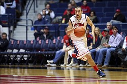 Dec 14, 2013; Oxford, MS, USA; Mississippi Rebels guard Marshall Henderson (22) brings the ball up court during the game against the Middle Tennessee Blue Raiders at Tad Smith Coliseum. Mandatory Credit: Spruce Derden-USA TODAY Sports