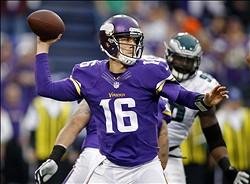 Dec 15, 2013; Minneapolis, MN, USA; Minnesota Vikings quarterback Matt Cassel (16) passes against the Philadelphia Eagles in the first quarter at Mall of America Field at H.H.H. Metrodome. Mandatory Credit: Bruce Kluckhohn-USA TODAY Sports