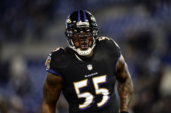 BALTIMORE, MD - NOVEMBER 28: Outside linebacker Terrell Suggs #55 of the Baltimore Ravens looks on before playing the Pittsburgh Steelers at M&T Bank Stadium on November 28, 2013 in Baltimore, Maryland. The Baltimore Ravens won, 22-20. (Photo by Patrick Smith/Getty Images)
