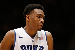 Dec 3, 2013; Durham, NC, USA; Duke Blue Devils forward Jabari Parker (1) in their game against the Michigan Wolverines at Cameron Indoor Stadium. Mandatory Credit: Mark Dolejs-USA TODAY Sports