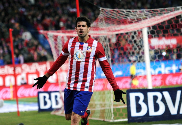 MADRID, SPAIN - DECEMBER 15:  Diego Costa of Club Atletico de Madrid celebrates after scoring Atletico's 3rd goal during the La Liga match between Club Atletico de Madrid and Valencia CF at Vicente Calderon Stadium on December 15, 2013 in Madrid, Spain.  (Photo by Denis Doyle/Getty Images)