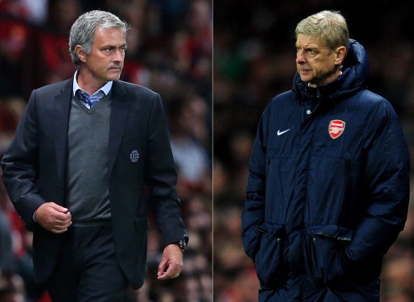 (FILE PHOTO - EDITORS NOTE: COMPOSITE OF TWO IMAGES - Image Numbers 177996036 (L) and 452339145) In this composite image a comparison has been made between Chelsea Manager Jose Mourinho (L) and Arsenal Manager Arsene Wenger. The Premier League match between Arsenal and Chelsea takes place on December 23, 2013 at the Emirates Stadium, London, England. ***LEFT IMAGE*** MANCHESTER, ENGLAND - AUGUST 26: Chelsea Manager Jose Mourinho looks on during the Barclays Premier League match between Manchester United and Chelsea at Old Trafford on August 26, 2013 in Manchester, England. (Photo by Alex Livesey/Getty Images) ***RIGHT IMAGE*** LONDON, ENGLAND - NOVEMBER 26: Manager Arsene Wenger of Arsenal looks on during the UEFA Champions League Group F match between Arsenal and Olympique de Marseille at Emirates Stadium on November 26, 2013 in London, England. (Photo by Shaun Botterill/Getty Images)