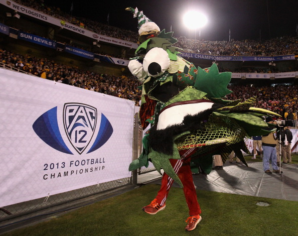 TEMPE, AZ - DECEMBER 07:  The Stanford Cardinal mascot, Tree performs during the Pac 12 Championship game against the Arizona State Sun Devils at Sun Devil Stadium on December 7, 2013 in Tempe, Arizona. The Carindal defeated the Sun Devils 38-14.  (Photo by Christian Petersen/Getty Images)